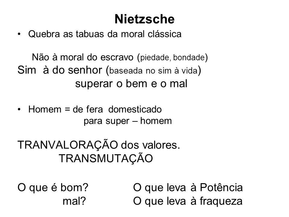 Nietzsche Quebra as tabuas da moral clássica Não à moral do escravo ( piedade, bondade ) Sim à do senhor ( baseada no sim à vida ) superar o bem e o m