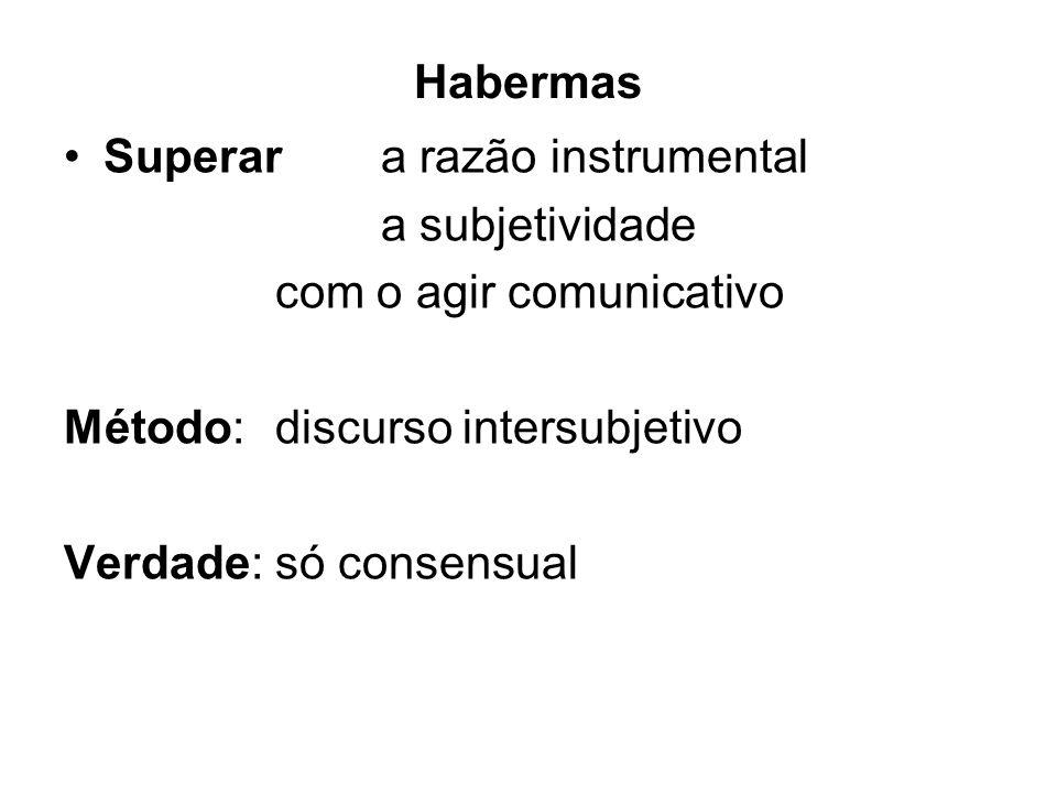 Habermas Superar a razão instrumental a subjetividade com o agir comunicativo Método:discurso intersubjetivo Verdade: só consensual