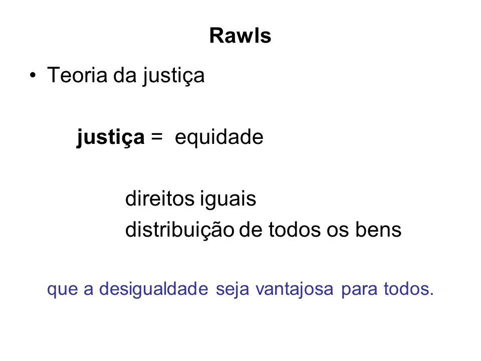 Rawls Teoria da justiça justiça = equidade direitos iguais distribuição de todos os bens que a desigualdade seja vantajosa para todos.