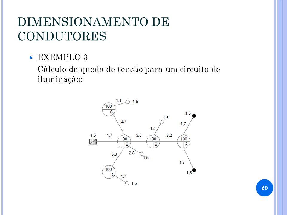 DIMENSIONAMENTO DE CONDUTORES EXEMPLO 3 Cálculo da queda de tensão para um circuito de iluminação: 20