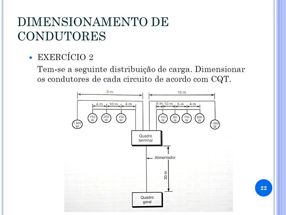 DIMENSIONAMENTO DE CONDUTORES EXERCÍCIO 2 Tem-se a seguinte distribuição de carga.