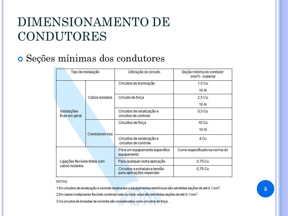 DIMENSIONAMENTO DE CONDUTORES Seções mínimas dos condutores 5
