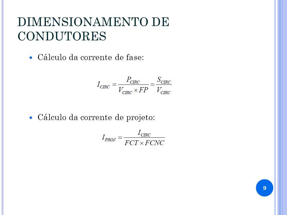 DIMENSIONAMENTO DE CONDUTORES Cálculo da corrente de fase: Cálculo da corrente de projeto: 9
