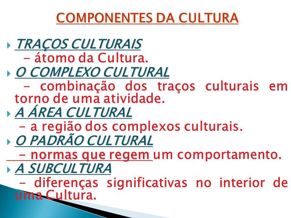 COMPONENTES DA CULTURA TRAÇOS CULTURAIS TRAÇOS CULTURAIS - átomo da Cultura. O COMPLEXO CULTURAL O COMPLEXO CULTURAL - combinação dos traços culturais