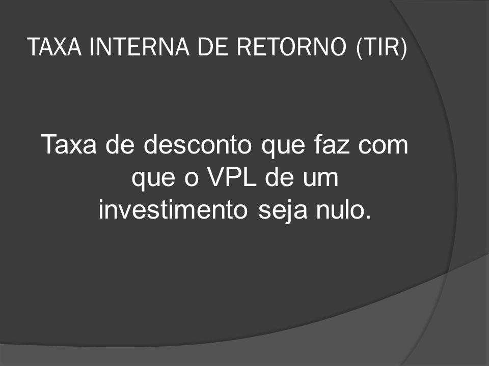 TIR: A TIR de um investimento é a taxa exigida de retorno que, quando utilizada como taxa de desconto, resulta em VPL igual a zero.