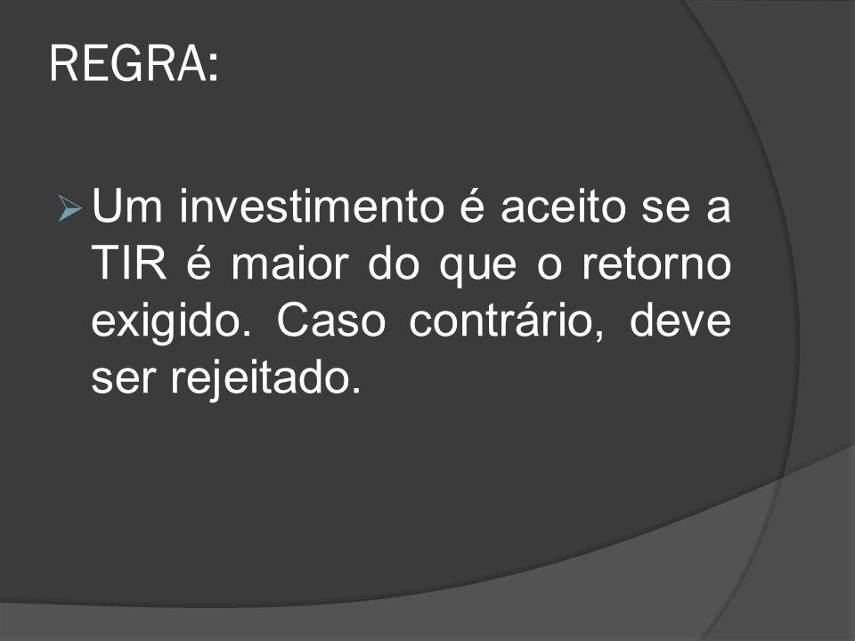 REGRA: Um investimento é aceito se a TIR é maior do que o retorno exigido. Caso contrário, deve ser rejeitado.
