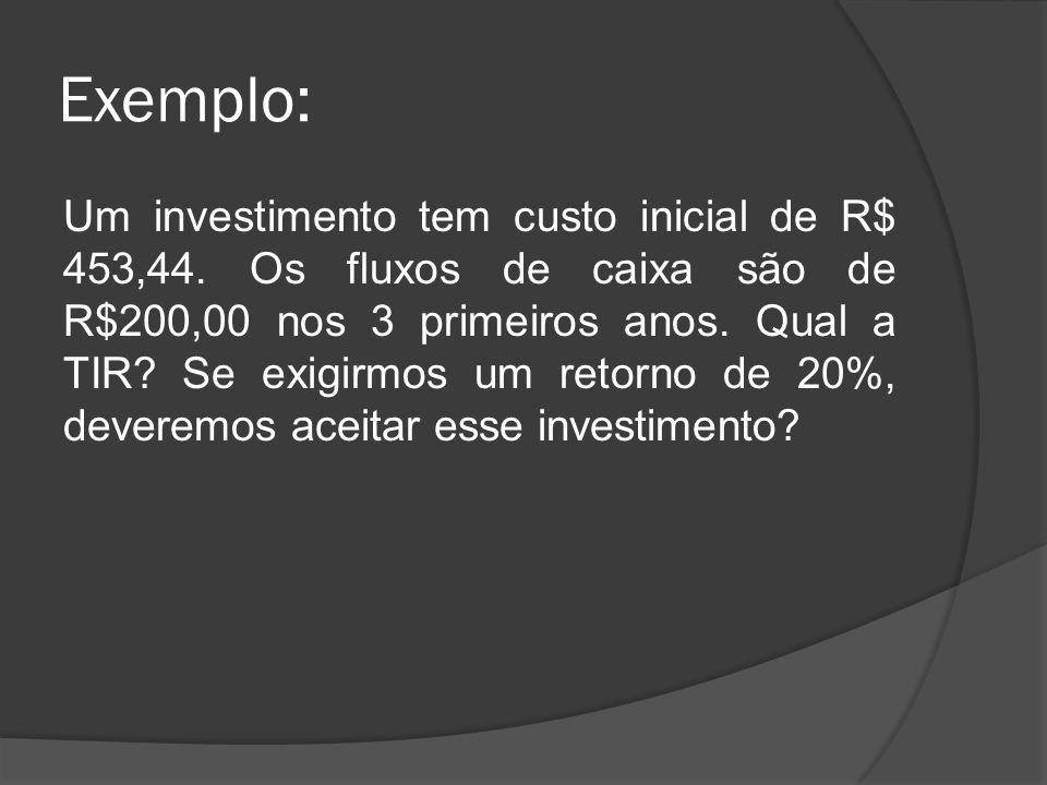 Exemplo: Um investimento tem custo inicial de R$ 453,44. Os fluxos de caixa são de R$200,00 nos 3 primeiros anos. Qual a TIR? Se exigirmos um retorno