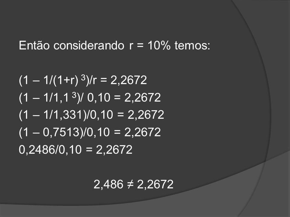 Então considerando r = 10% temos: (1 – 1/(1+r) 3 )/r = 2,2672 (1 – 1/1,1 3 )/ 0,10 = 2,2672 (1 – 1/1,331)/0,10 = 2,2672 (1 – 0,7513)/0,10 = 2,2672 0,2