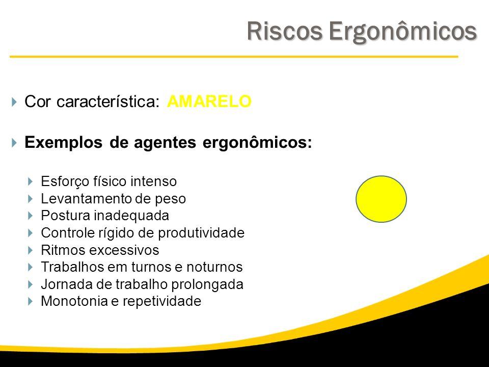 Cor característica: AMARELO Exemplos de agentes ergonômicos: Esforço físico intenso Levantamento de peso Postura inadequada Controle rígido de produti