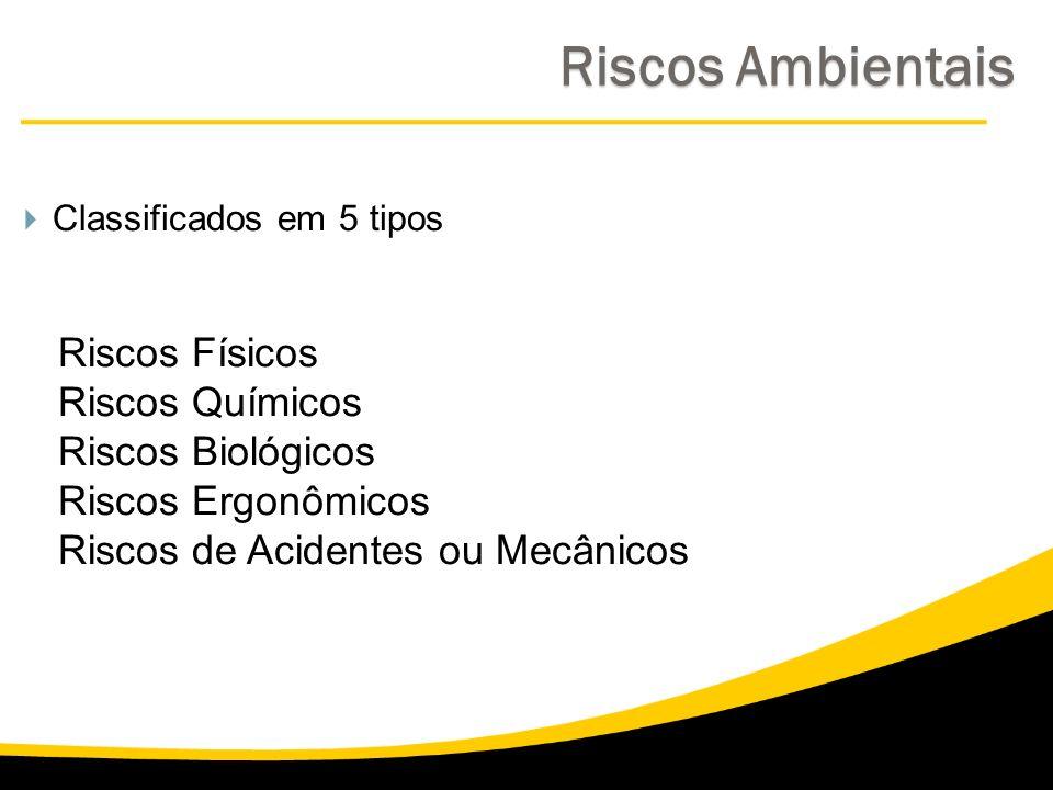 Classificados em 5 tipos Riscos Físicos Riscos Químicos Riscos Biológicos Riscos Ergonômicos Riscos de Acidentes ou Mecânicos Riscos Ambientais Riscos