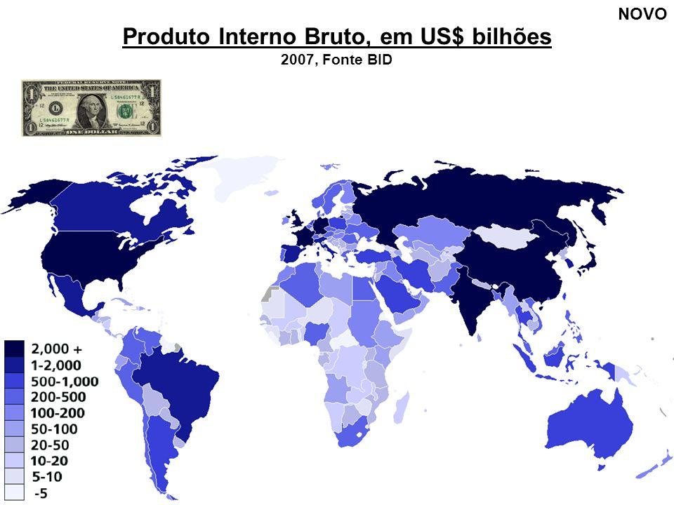 Produto Interno Bruto, em US$ bilhões 2007, Fonte BID NOVO