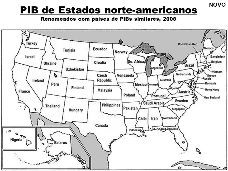PIB de Estados norte-americanos Renomeados com países de PIBs similares, 2008 NOVO