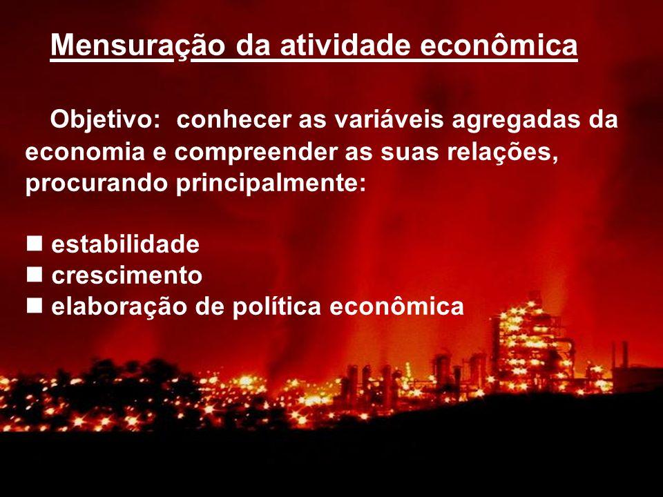 Mensuração da atividade econômica Objetivo: conhecer as variáveis agregadas da economia e compreender as suas relações, procurando principalmente: est