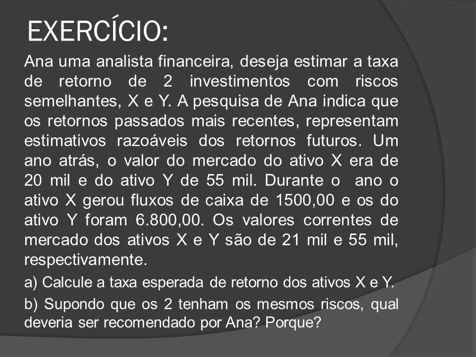 EXERCÍCIO: Ana uma analista financeira, deseja estimar a taxa de retorno de 2 investimentos com riscos semelhantes, X e Y. A pesquisa de Ana indica qu