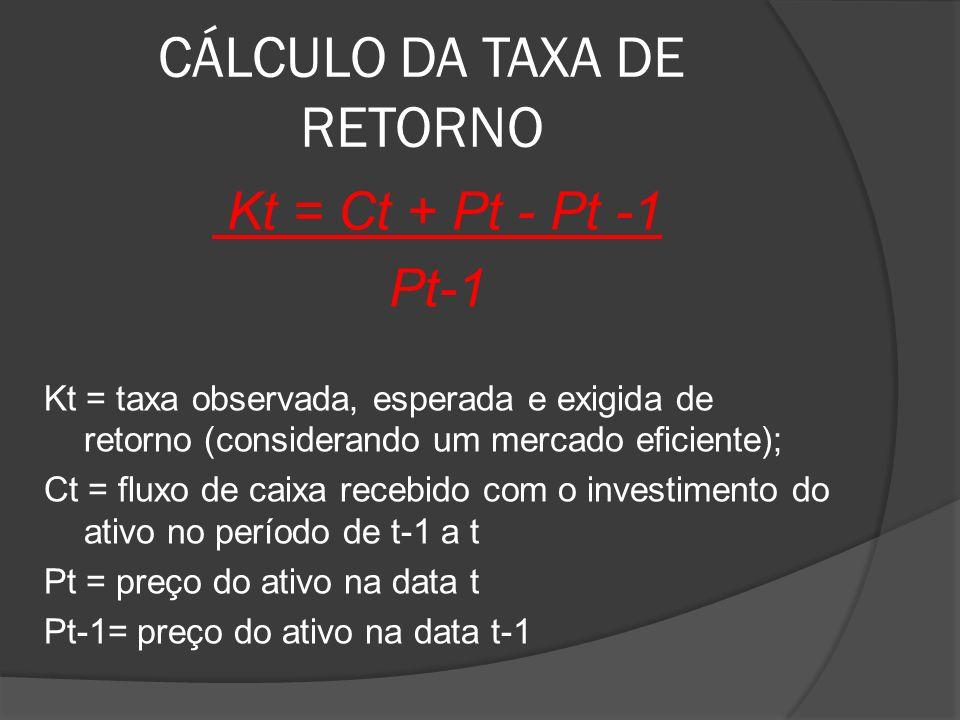 CÁLCULO DA TAXA DE RETORNO Kt = Ct + Pt - Pt -1 Pt-1 Kt = taxa observada, esperada e exigida de retorno (considerando um mercado eficiente); Ct = flux