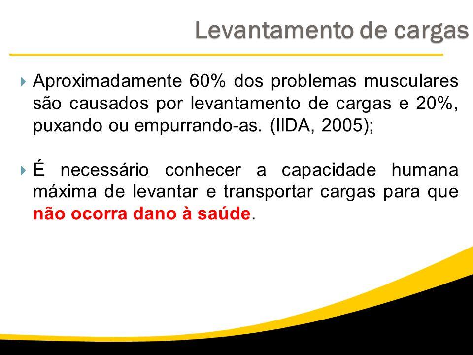 Levantamento de cargas Aproximadamente 60% dos problemas musculares são causados por levantamento de cargas e 20%, puxando ou empurrando-as. (IIDA, 20