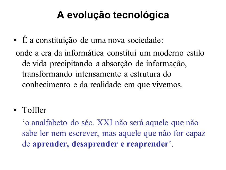 A evolução tecnológica É a constituição de uma nova sociedade: onde a era da informática constitui um moderno estilo de vida precipitando a absorção d