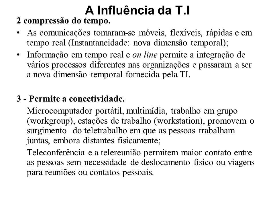 A Influência da T.I 2 compressão do tempo. As comunicações tomaram-se móveis, flexíveis, rápidas e em tempo real (Instantaneidade: nova dimensão tempo