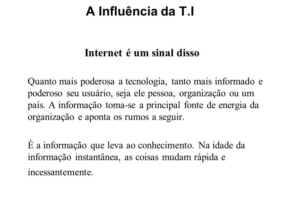 Internet é um sinal disso Quanto mais poderosa a tecnologia, tanto mais informado e poderoso seu usuário, seja ele pessoa, organização ou um país. A i