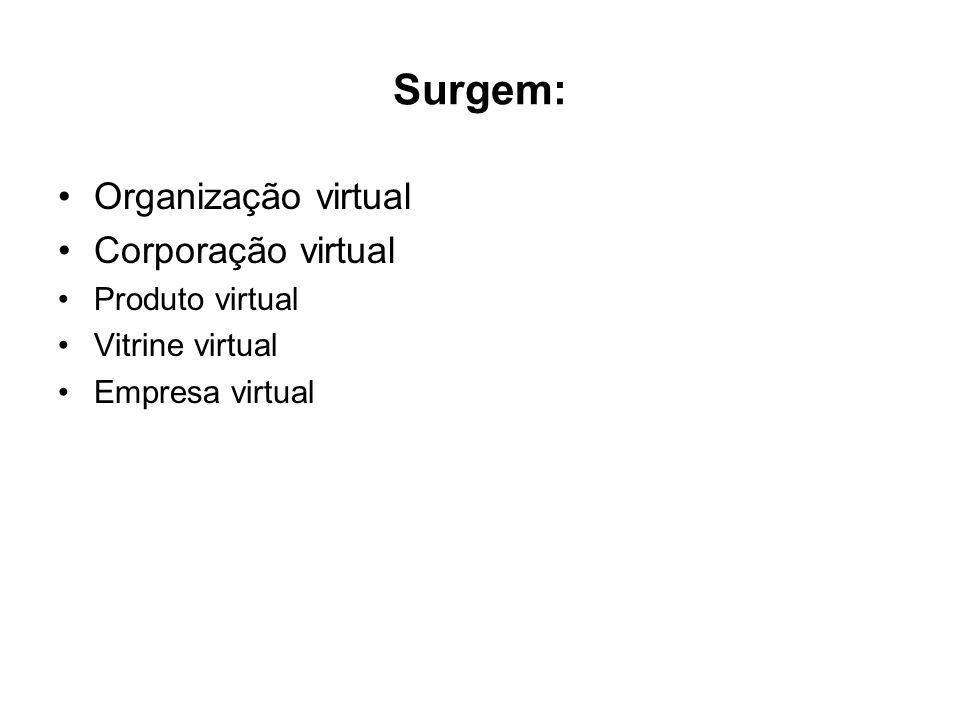 Surgem: Organização virtual Corporação virtual Produto virtual Vitrine virtual Empresa virtual