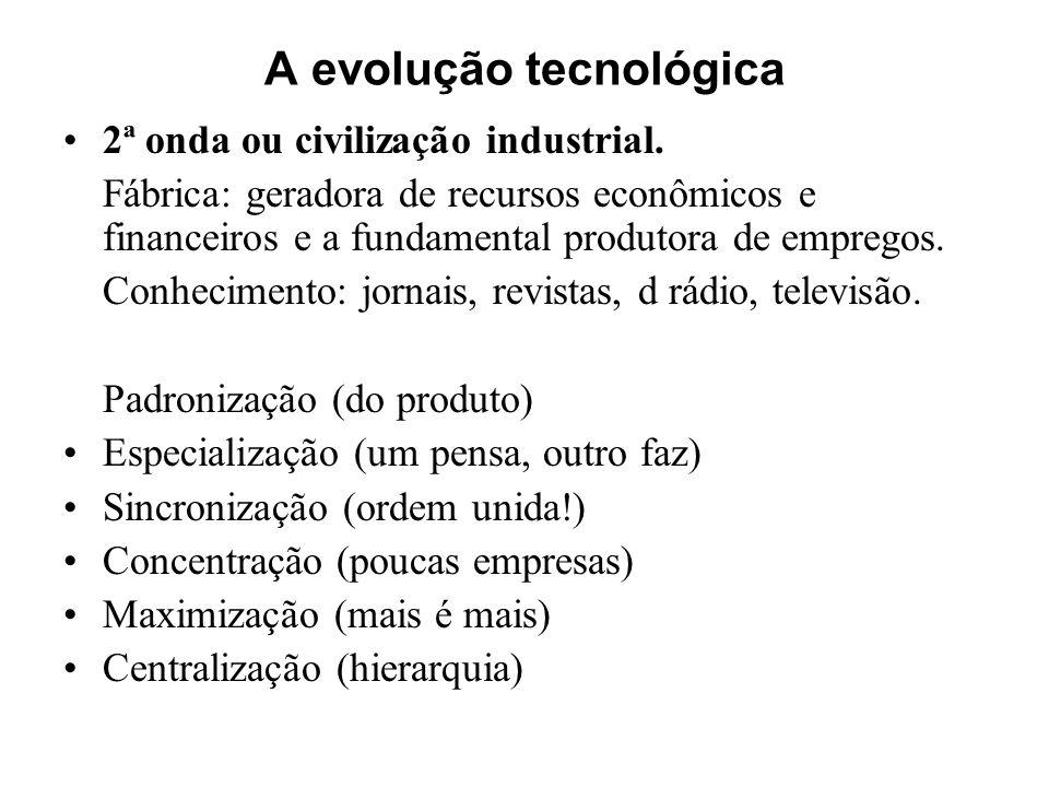 A evolução tecnológica 2ª onda ou civilização industrial. Fábrica: geradora de recursos econômicos e financeiros e a fundamental produtora de empregos