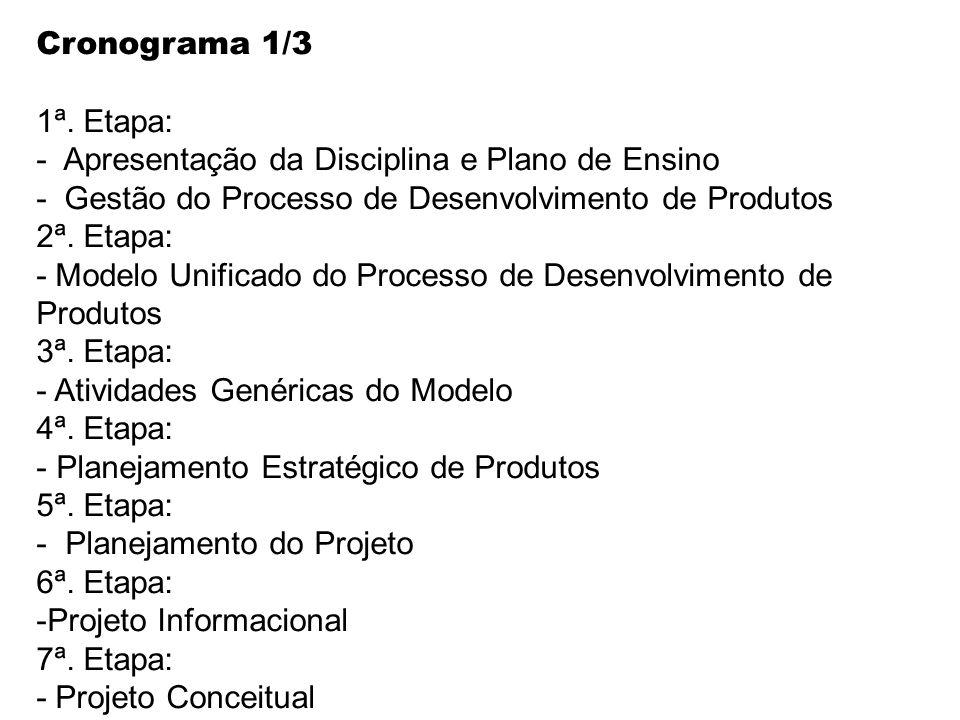 Cronograma 1/3 1ª. Etapa: - Apresentação da Disciplina e Plano de Ensino - Gestão do Processo de Desenvolvimento de Produtos 2ª. Etapa: - Modelo Unifi