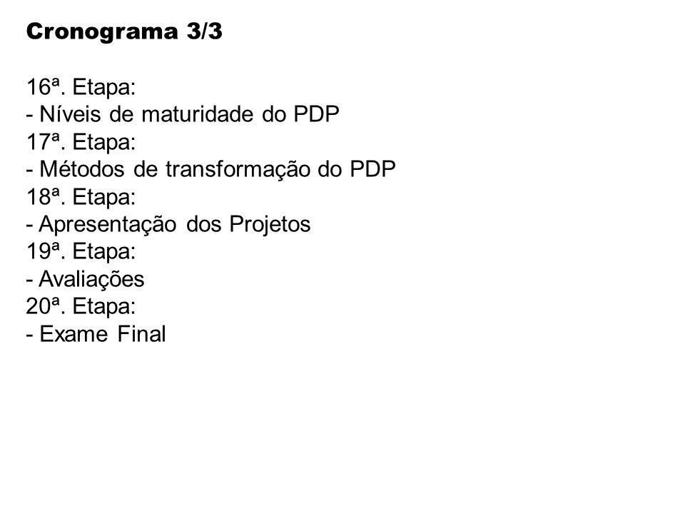Cronograma 3/3 16ª. Etapa: - Níveis de maturidade do PDP 17ª. Etapa: - Métodos de transformação do PDP 18ª. Etapa: - Apresentação dos Projetos 19ª. Et