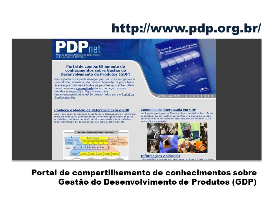 Portal de compartilhamento de conhecimentos sobre Gestão do Desenvolvimento de Produtos (GDP) http://www.pdp.org.br/