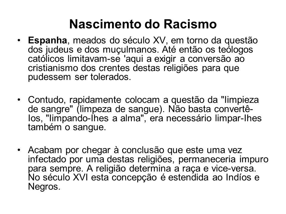 Nascimento do Racismo Espanha, meados do século XV, em torno da questão dos judeus e dos muçulmanos.