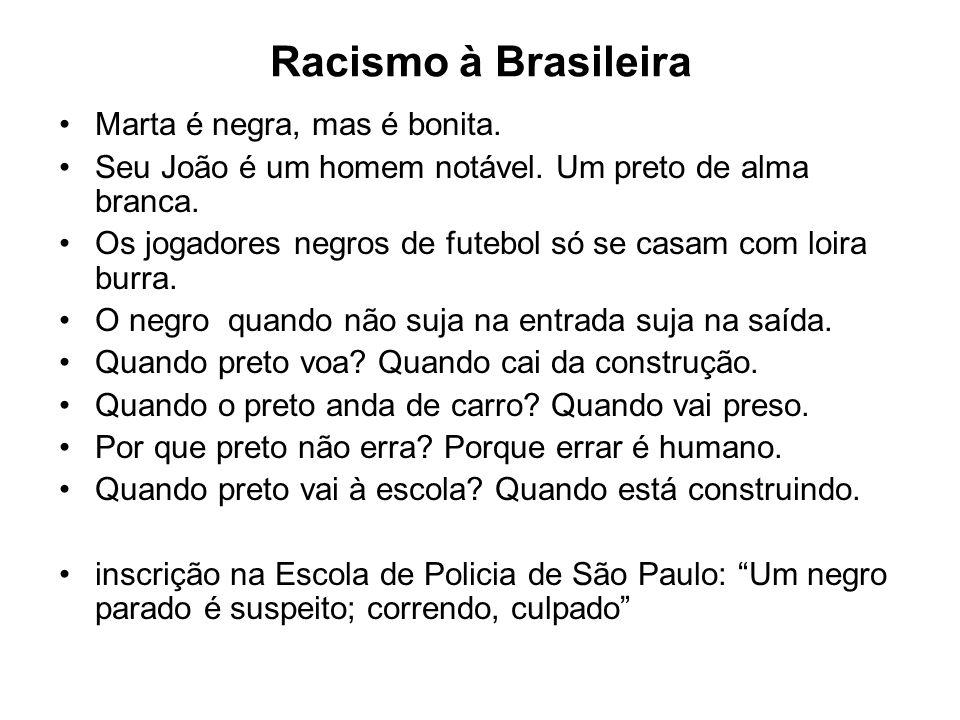 Racismo à Brasileira Marta é negra, mas é bonita.Seu João é um homem notável.