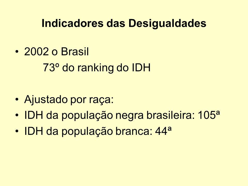 Indicadores das Desigualdades 2002 o Brasil 73º do ranking do IDH Ajustado por raça: IDH da população negra brasileira: 105ª IDH da população branca: 44ª