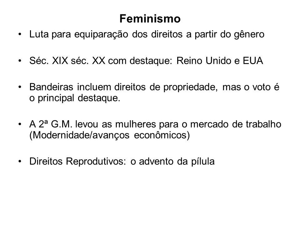Feminismo Luta para equiparação dos direitos a partir do gênero Séc.