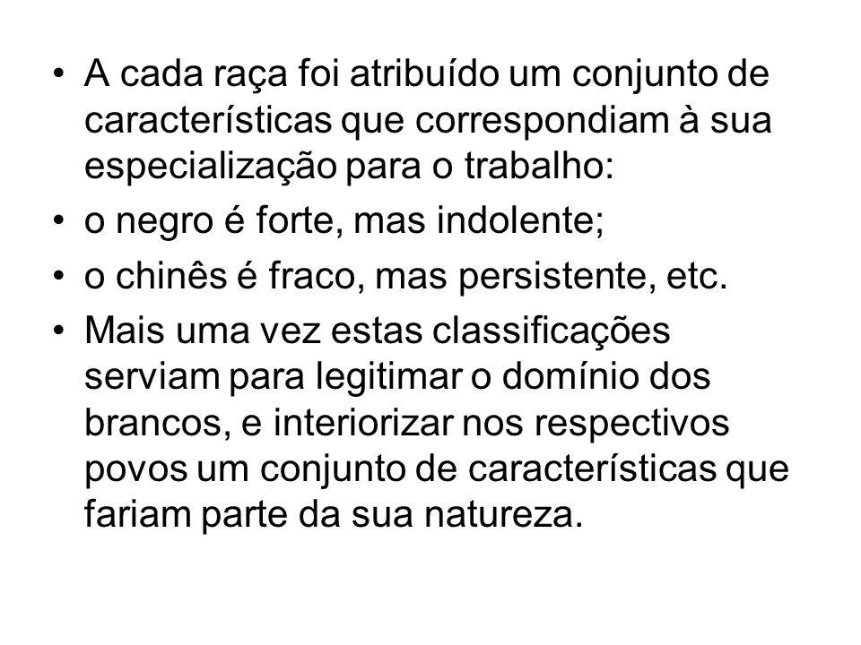 A cada raça foi atribuído um conjunto de características que correspondiam à sua especialização para o trabalho: o negro é forte, mas indolente; o chinês é fraco, mas persistente, etc.