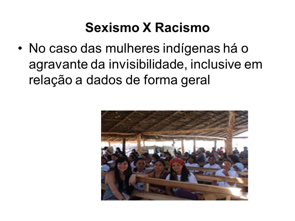 Sexismo X Racismo No caso das mulheres indígenas há o agravante da invisibilidade, inclusive em relação a dados de forma geral