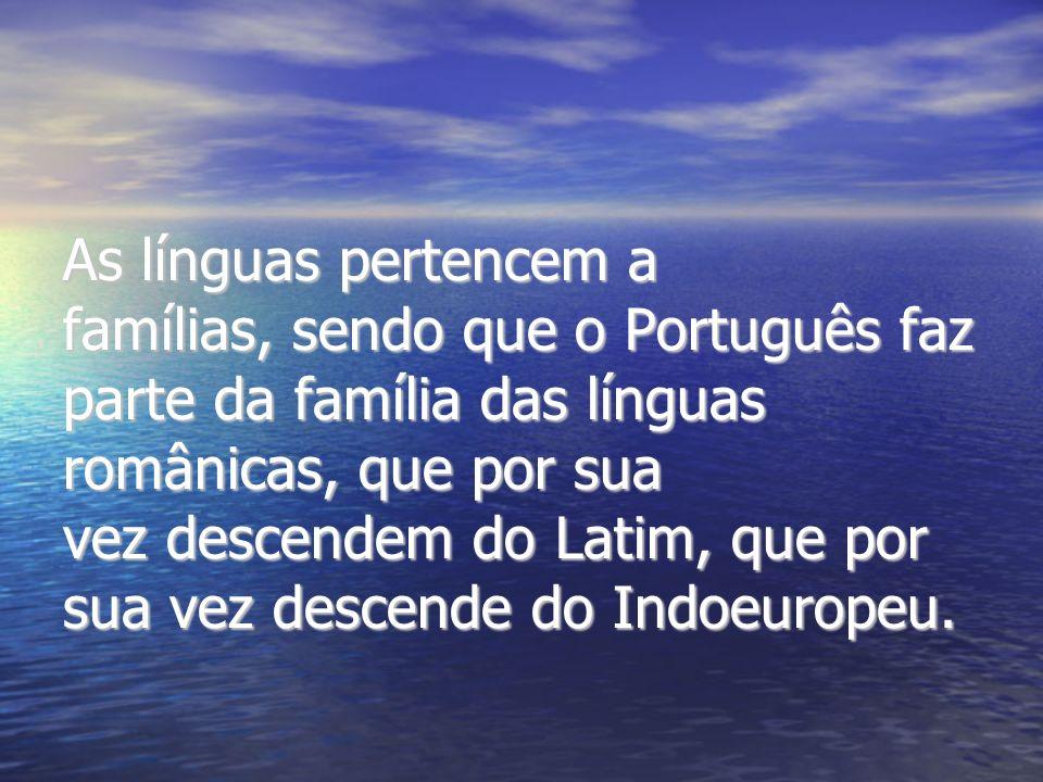 As línguas pertencem a famílias, sendo que o Português faz parte da família das línguas românicas, que por sua vez descendem do Latim, que por sua vez