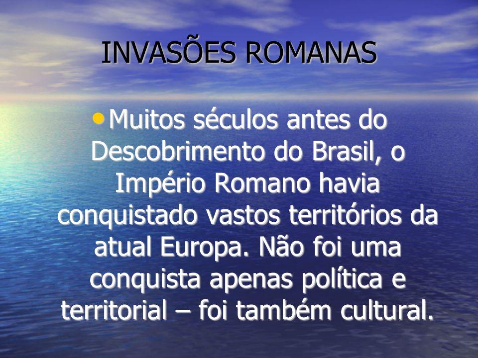 ROMA CHEGA À PENÍNSULA IBÉRICA Movidos pela ambição (interesse pela prata), em 197 a.C., os romanos expulsaram da península os cartagineses (fenícios), inimigos de outras datas (concorrentes nas rotas comerciais do Mediterrâneo).
