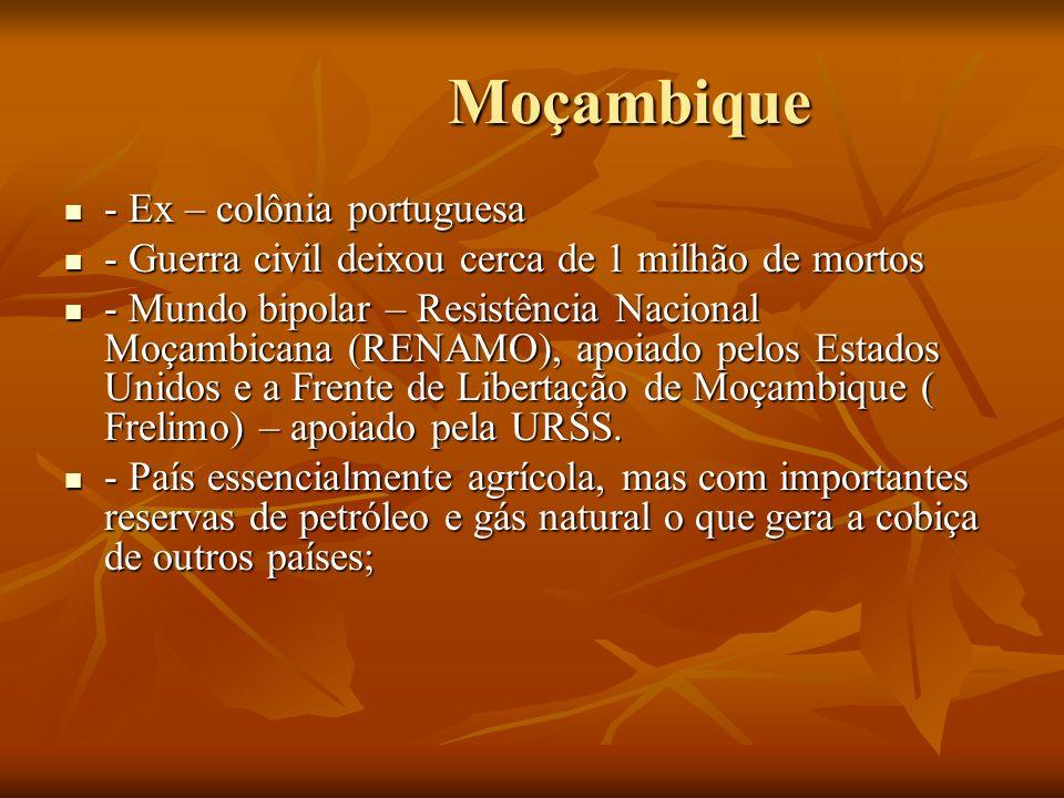 Moçambique Moçambique - Ex – colônia portuguesa - Ex – colônia portuguesa - Guerra civil deixou cerca de 1 milhão de mortos - Guerra civil deixou cerc