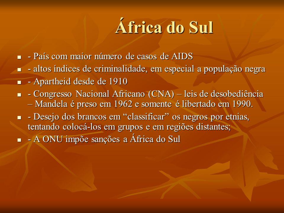 África do Sul África do Sul - País com maior número de casos de AIDS - País com maior número de casos de AIDS - altos índices de criminalidade, em esp