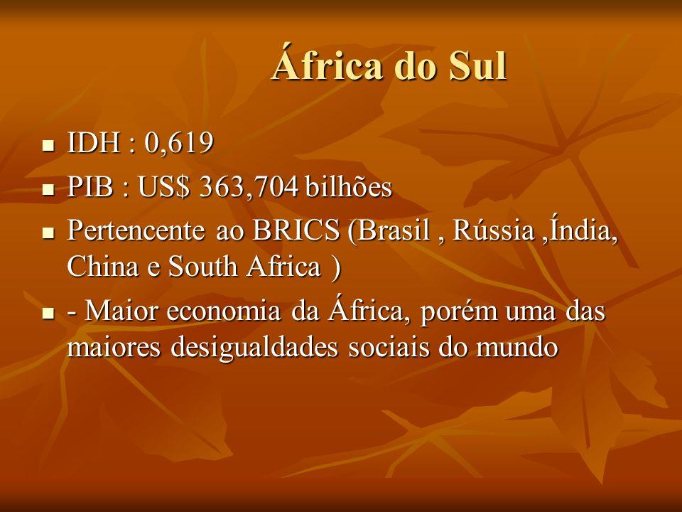 África do Sul África do Sul IDH : 0,619 IDH : 0,619 PIB : US$ 363,704 bilhões PIB : US$ 363,704 bilhões Pertencente ao BRICS (Brasil, Rússia,Índia, Ch