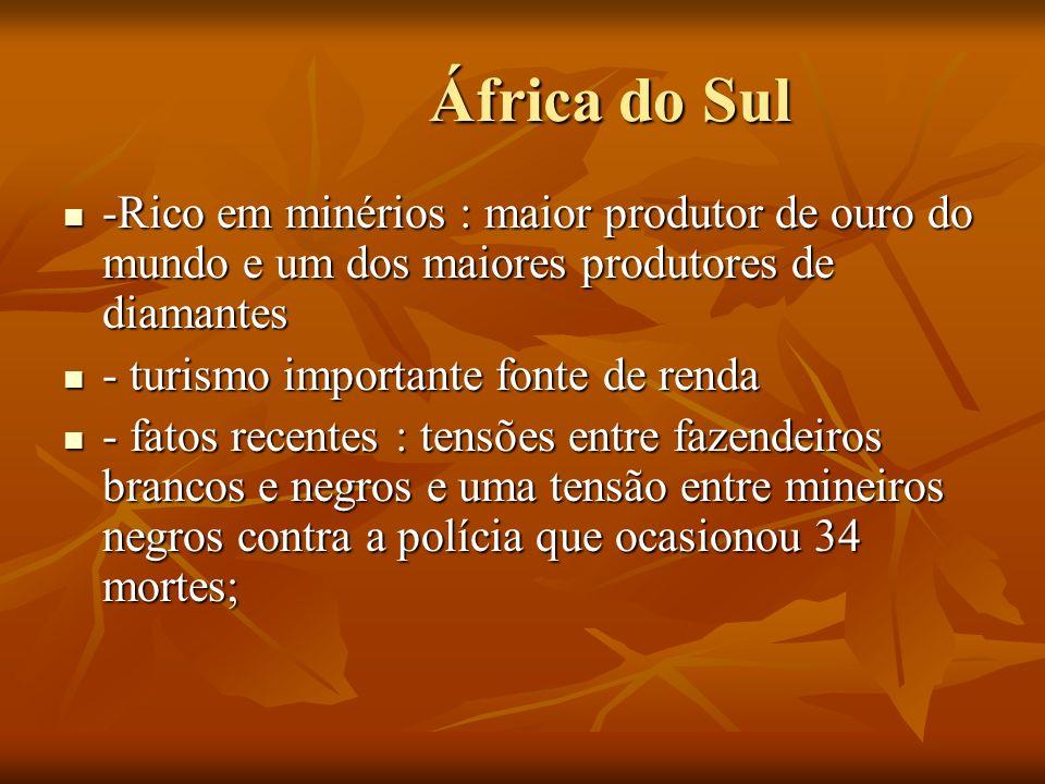 África do Sul África do Sul -Rico em minérios : maior produtor de ouro do mundo e um dos maiores produtores de diamantes -Rico em minérios : maior pro
