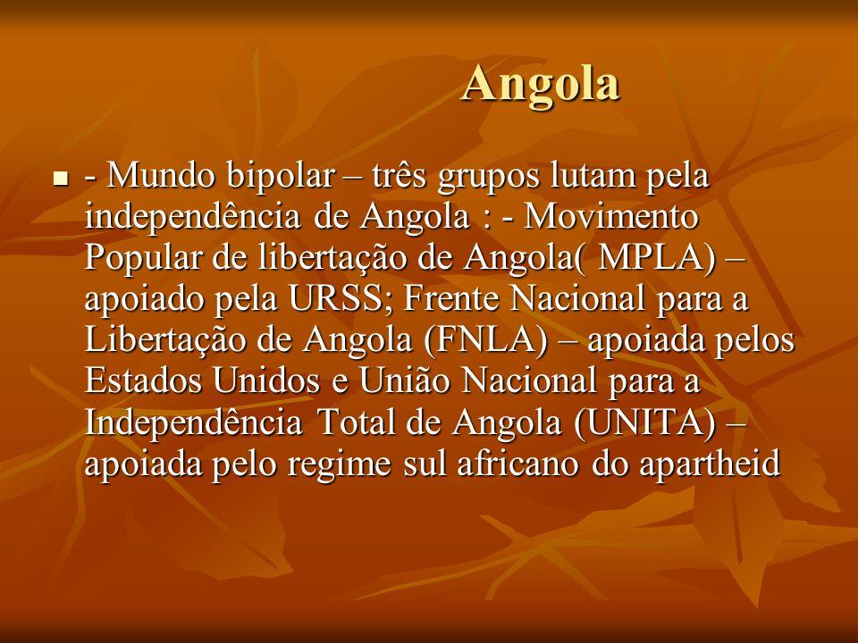 Angola Angola - Mundo bipolar – três grupos lutam pela independência de Angola : - Movimento Popular de libertação de Angola( MPLA) – apoiado pela URS