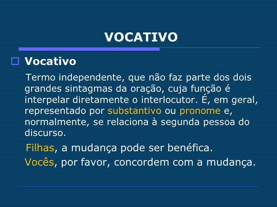 VOCATIVO Vocativo Termo independente, que não faz parte dos dois grandes sintagmas da oração, cuja função é interpelar diretamente o interlocutor. É,