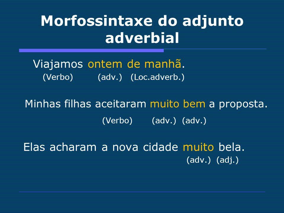 Morfossintaxe do adjunto adverbial Viajamos ontem de manhã. (Verbo) (adv.) (Loc.adverb.) Minhas filhas aceitaram muito bem a proposta. (Verbo) (adv.)