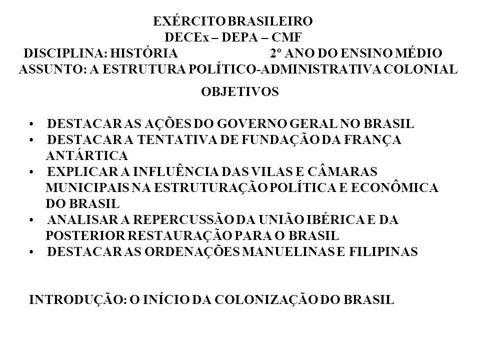 EXÉRCITO BRASILEIRO DECEx – DEPA – CMF DISCIPLINA: HISTÓRIA 2º ANO DO ENSINO MÉDIO ASSUNTO: A ESTRUTURA POLÍTICO-ADMINISTRATIVA COLONIAL OBJETIVOS DES