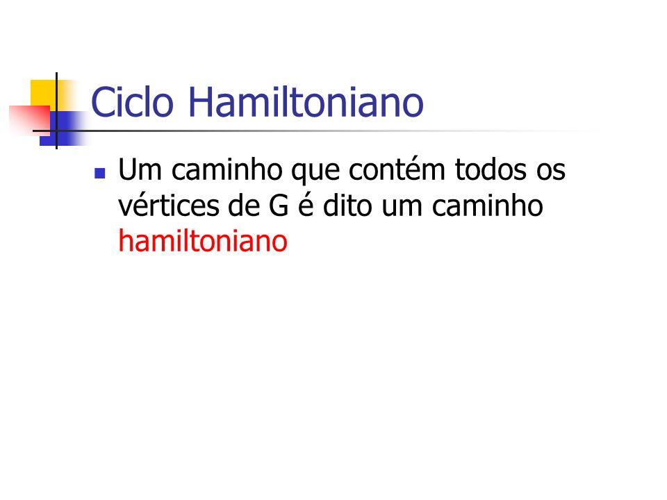 Ciclo Hamiltoniano Um caminho que contém todos os vértices de G é dito um caminho hamiltoniano Um ciclo hamiltoniano é um ciclo que contém todos os vértices de G