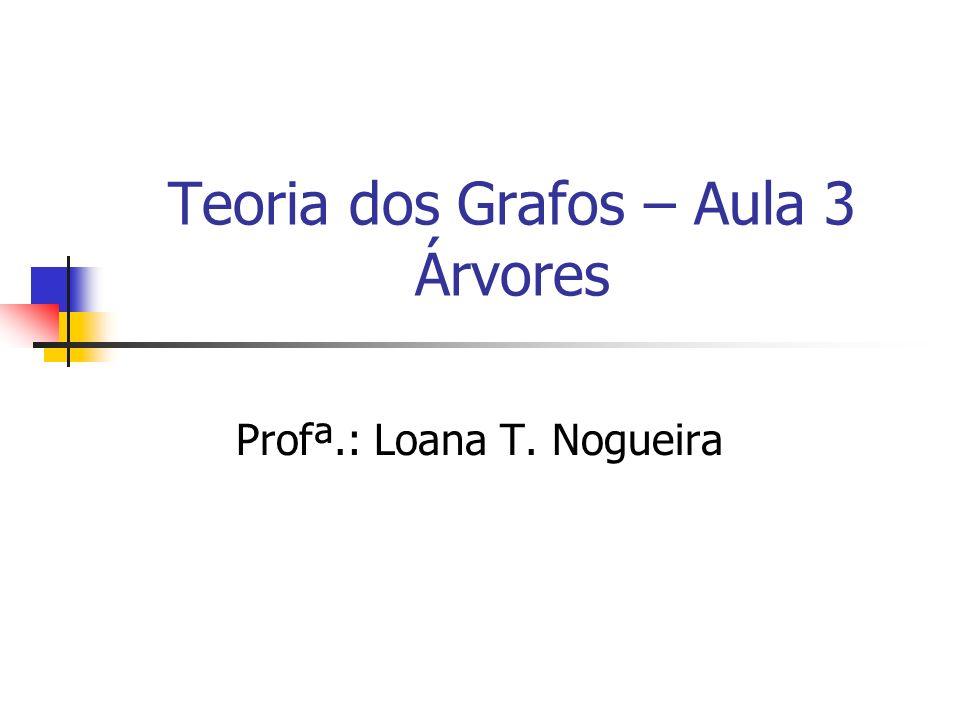 Teoria dos Grafos – Aula 3 Árvores Profª.: Loana T. Nogueira