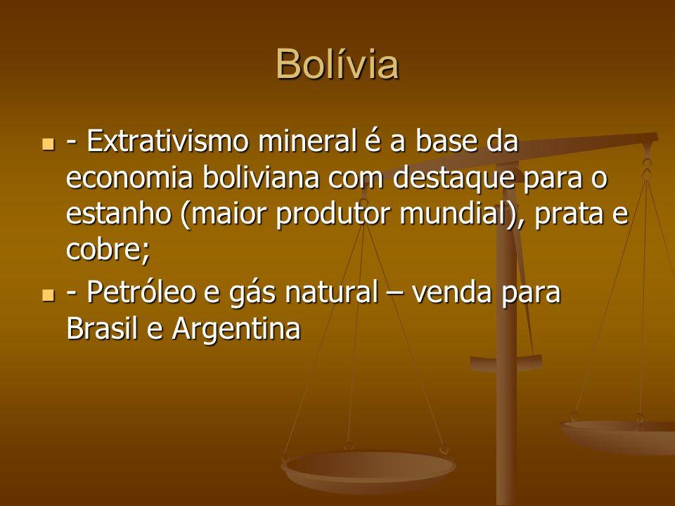 Bolívia - Extrativismo mineral é a base da economia boliviana com destaque para o estanho (maior produtor mundial), prata e cobre; - Extrativismo mineral é a base da economia boliviana com destaque para o estanho (maior produtor mundial), prata e cobre; - Petróleo e gás natural – venda para Brasil e Argentina - Petróleo e gás natural – venda para Brasil e Argentina