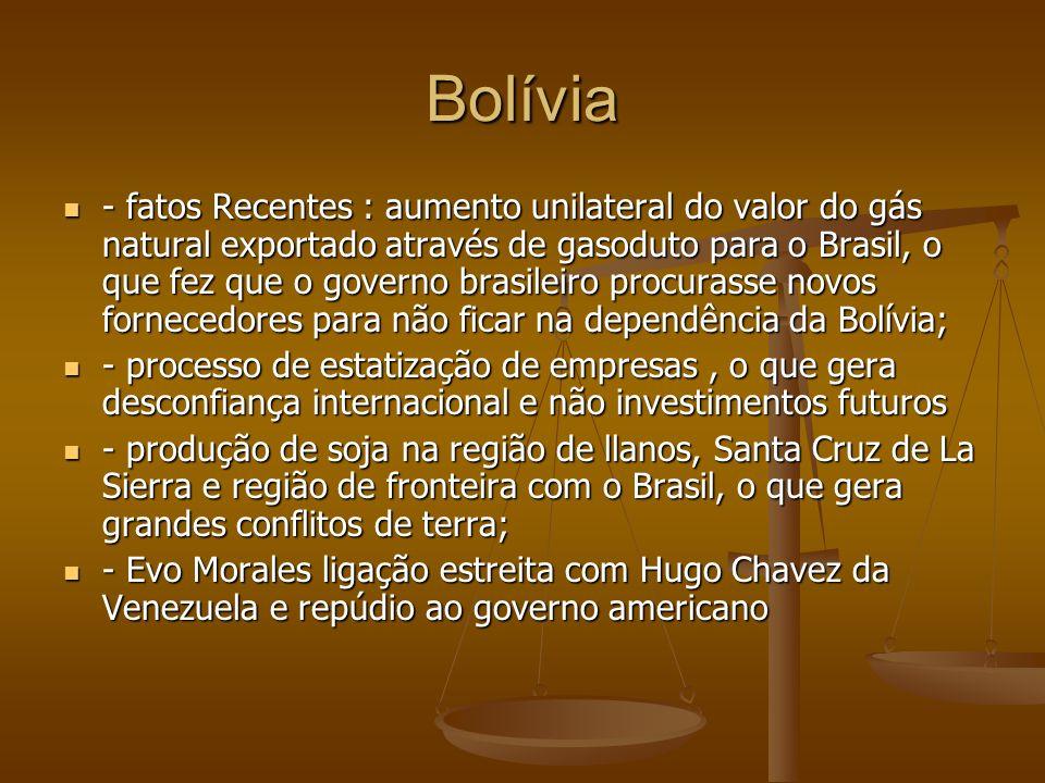 Bolívia - fatos Recentes : aumento unilateral do valor do gás natural exportado através de gasoduto para o Brasil, o que fez que o governo brasileiro procurasse novos fornecedores para não ficar na dependência da Bolívia; - fatos Recentes : aumento unilateral do valor do gás natural exportado através de gasoduto para o Brasil, o que fez que o governo brasileiro procurasse novos fornecedores para não ficar na dependência da Bolívia; - processo de estatização de empresas, o que gera desconfiança internacional e não investimentos futuros - processo de estatização de empresas, o que gera desconfiança internacional e não investimentos futuros - produção de soja na região de llanos, Santa Cruz de La Sierra e região de fronteira com o Brasil, o que gera grandes conflitos de terra; - produção de soja na região de llanos, Santa Cruz de La Sierra e região de fronteira com o Brasil, o que gera grandes conflitos de terra; - Evo Morales ligação estreita com Hugo Chavez da Venezuela e repúdio ao governo americano - Evo Morales ligação estreita com Hugo Chavez da Venezuela e repúdio ao governo americano