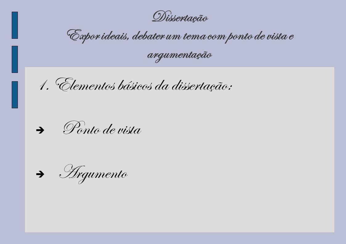 Dissertação Expor ideais, debater um tema com ponto de vista e argumentação 1. Elementos básicos da dissertação: Ponto de vista Argumento