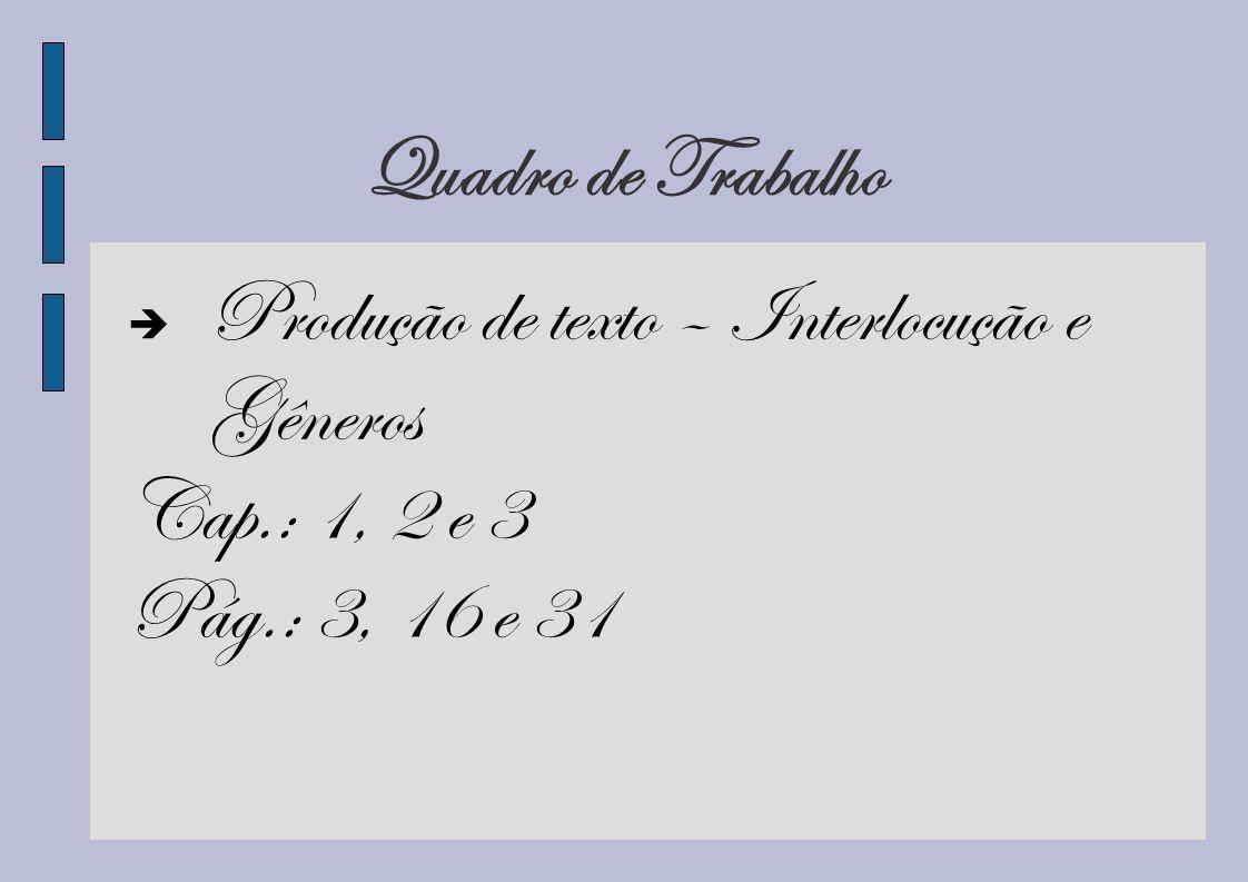 Bibliografia Abaurre, Maria Luiza M..Produção de texto: interlocução e gêneros.